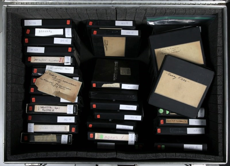 Gerd Stern's suitcase collection of of videotapes