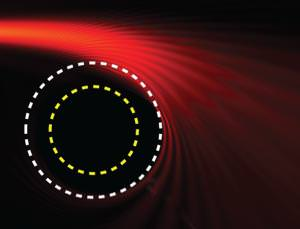 Light curving through the proton sphere, just as it would around a black hole