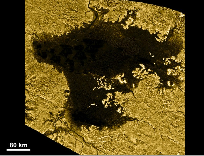 Ligeia Mare, shown in this false-colour image from NASA's Cassini probe, is the second-largest known body of liquid on Titan and it is filled with liquid hydrocarbons, such as ethane and methane