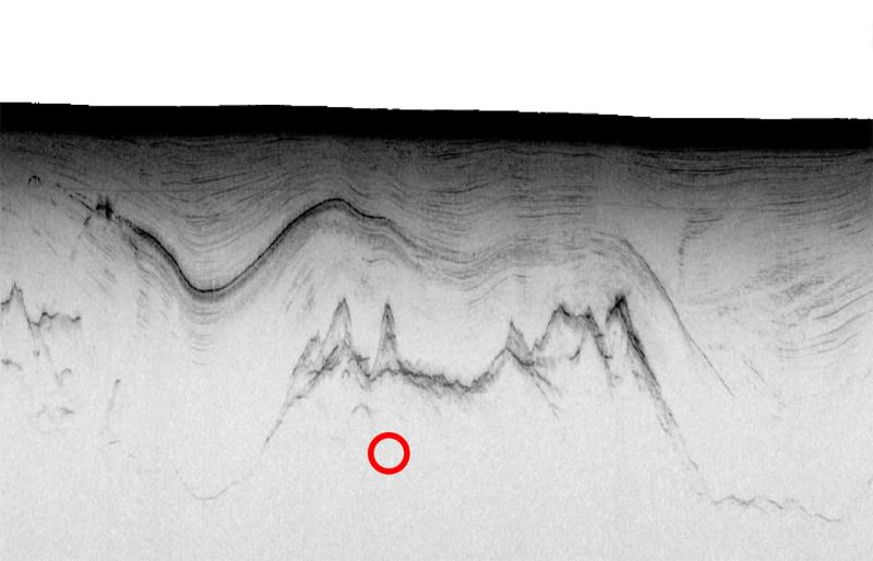 Radio waves reflected from the features beneath the ice show an undulating layer of ash (middle black line) above the craggy bedrock (bottom black line). The tremors occurred much deeper but the red circle shows their horizontal position. The black line at the top is the surface of the ice