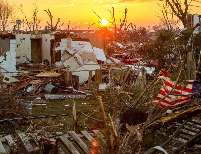 Unseasonal tornadoes have ripped through parts of the US