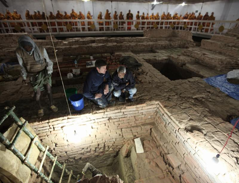 Excavations at the Asokan Maya Devi temple at Lumbini in Nepal