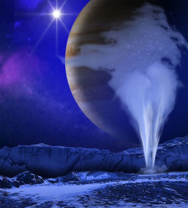 Illustration of Europa's icy surface with a water jet in the foreground and Jupiter and the sun behind