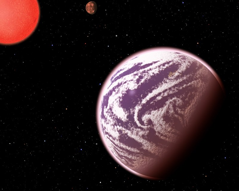Planet KOI-314c, imagined here, is the lightest planet to have both its mass and physical size measured. It weighs the same as Earth, but is 60 per cent wider, meaning it must have a very thick atmosphere. It orbits a dim, red dwarf star. KOI-314c interacts gravitationally with another planet, KOI-314b (in the background), allowing us to measure the masses of both worlds