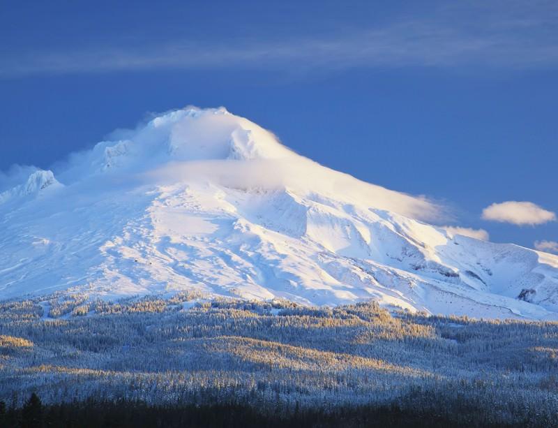 Mount Hood in Oregon is frozen in more than one way