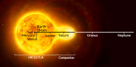 Largest ever yellow star is 1300 times bigger than sun
