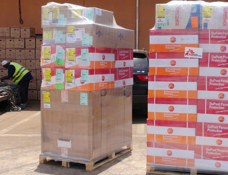 Emergency medical supplies arrive to help control an Ebola outbreak in Guinea