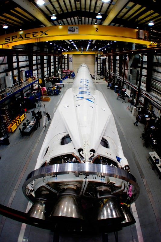 A Falcon 9 rocket lies in wait at Cape Canaveral