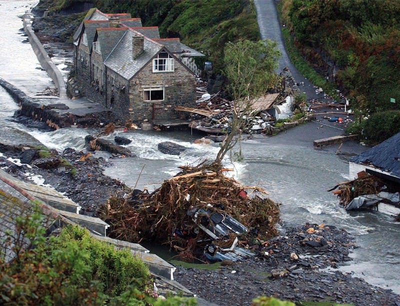 Boscastle in Cornwall, UK, was hit hard in 2004