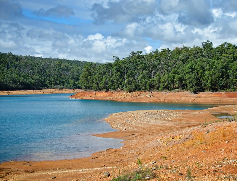 North Dandalup dam in Western Australia: idyllic, but lacking water