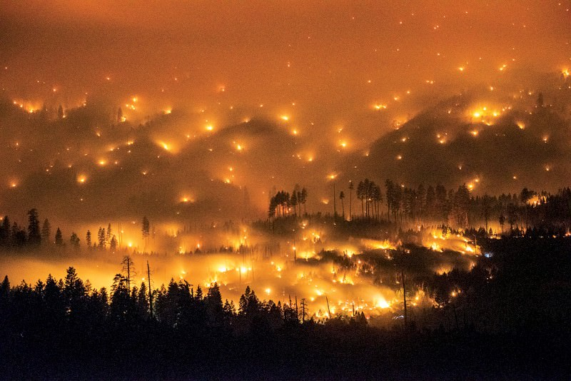Otherworldly view of a giant Californian wildfire