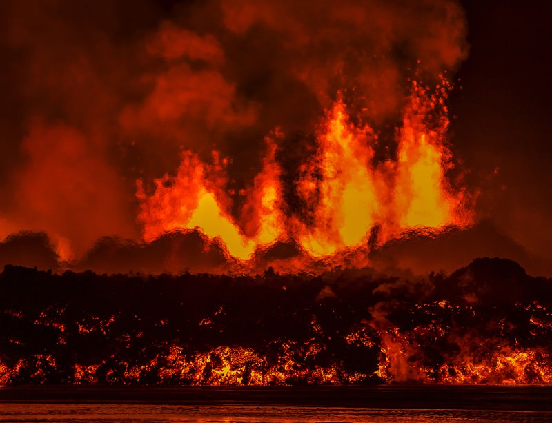 Lava and plumes of a fissure eruption that started in Holuhraun, Iceland, after several earthquakes in the preceding days