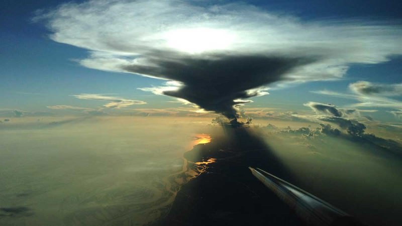 Up with the thunderclouds above the Amazon rainforest