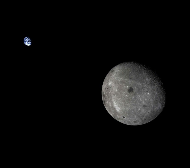 Earth's blue beauty glimpsed from far side of the moon