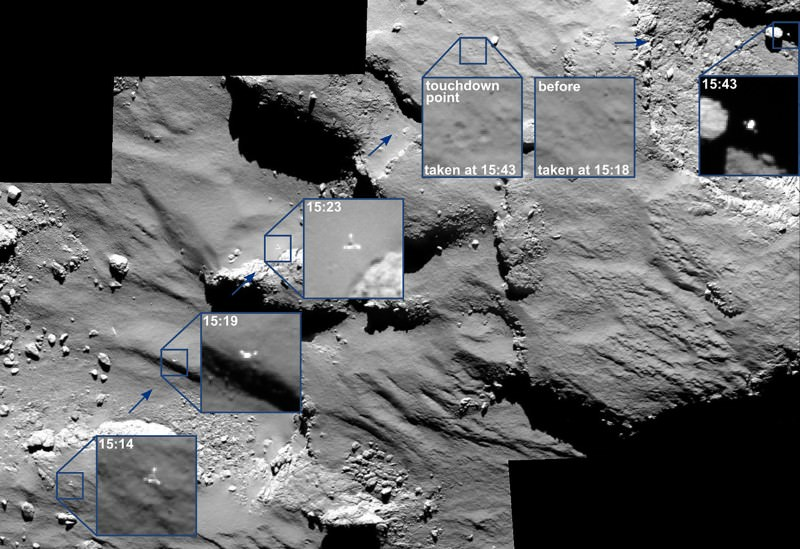 Philae's hop, skip and jump across comet 67P