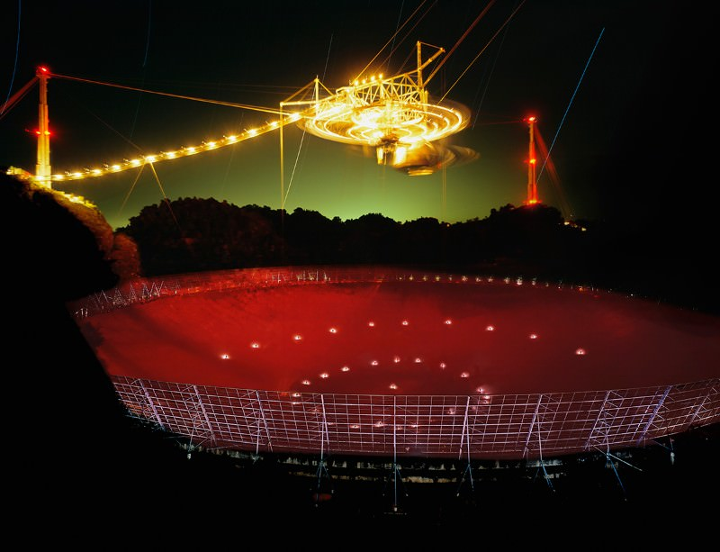 The Arecibo radio telescope, waiting for a signal