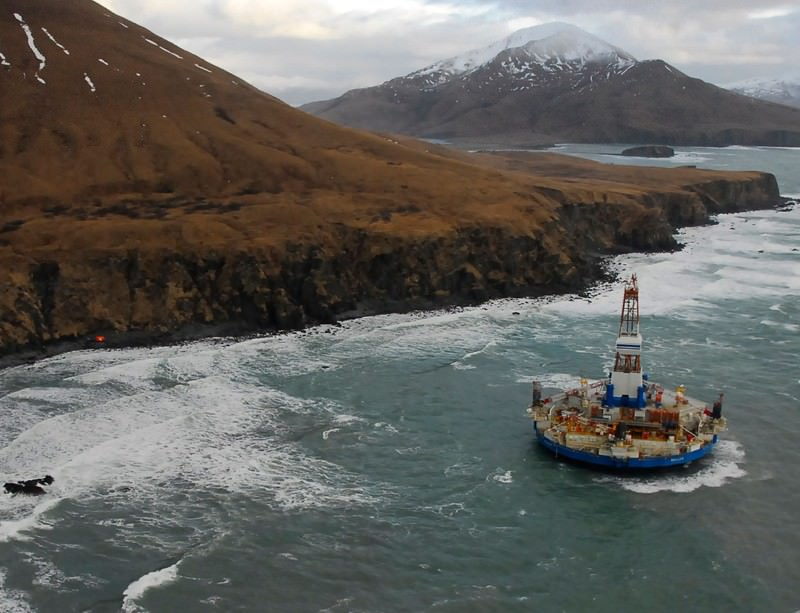 Shell's Kulluk drill rig in 2012: operations were suspended after the rig grounded in a storm