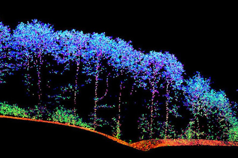 Plane creates vibrant landscape painting by firing laser pulses