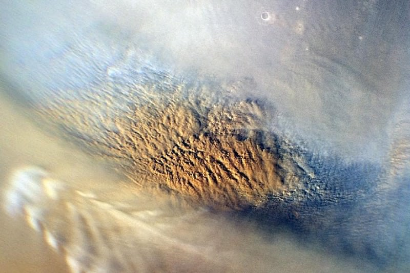 Dust storm on Mars, as pictured by NASA's Mars Reconnaissance Orbiter on 7 November 2007