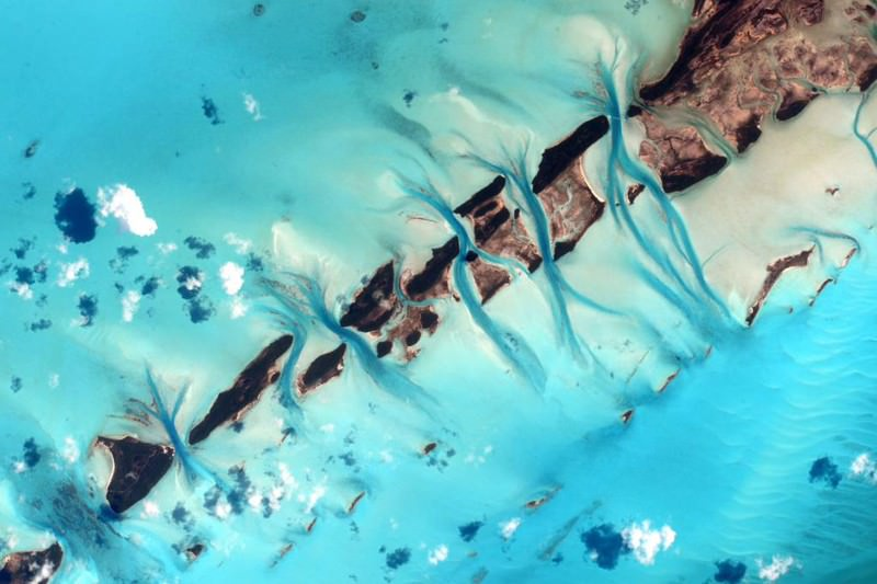 Bahamian paradise viewed from space captures ocean in motion