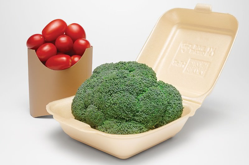 Cherry tomatoes and broccoli in fast food containers