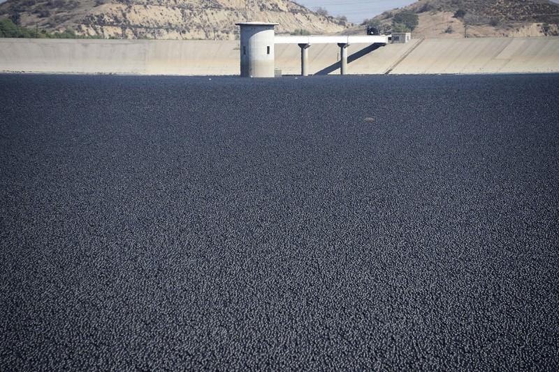 Sea of black plastic balls helps California conserve water