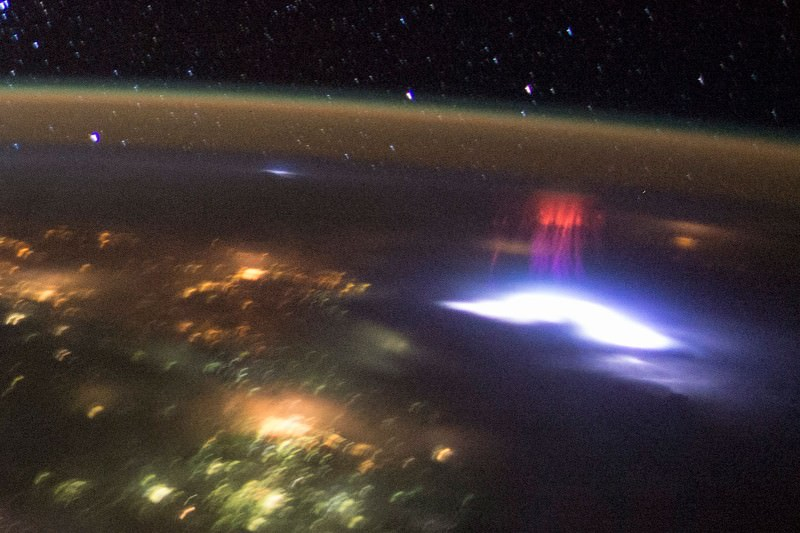 International Space Station snaps red sprite above a US storm