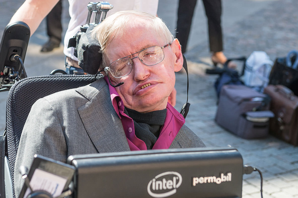 Hawking outside the KTH Royal Institute of Technology in Stockholm yesterday