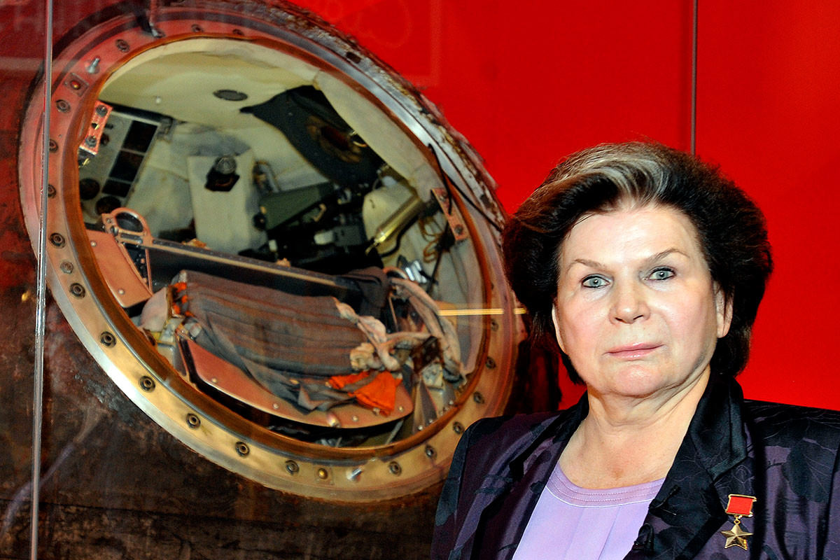 Valentina Tereskova, the first woman in space, at the opening of the exhibition
