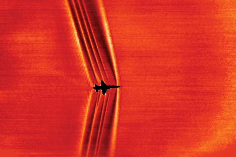 Jet's shock waves captured against the sun's brightness