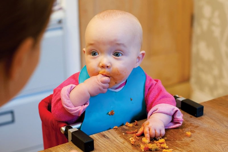 A baby eating