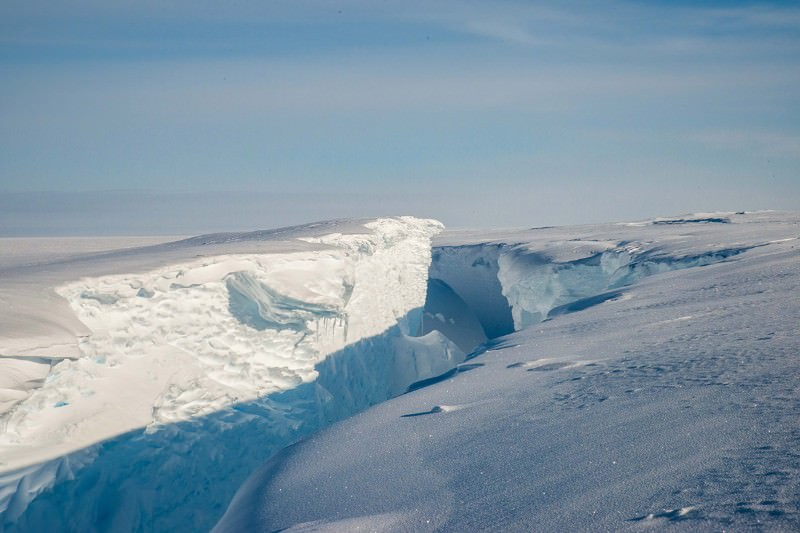 Massive crevasse in the ice forces early move for Antarctic base