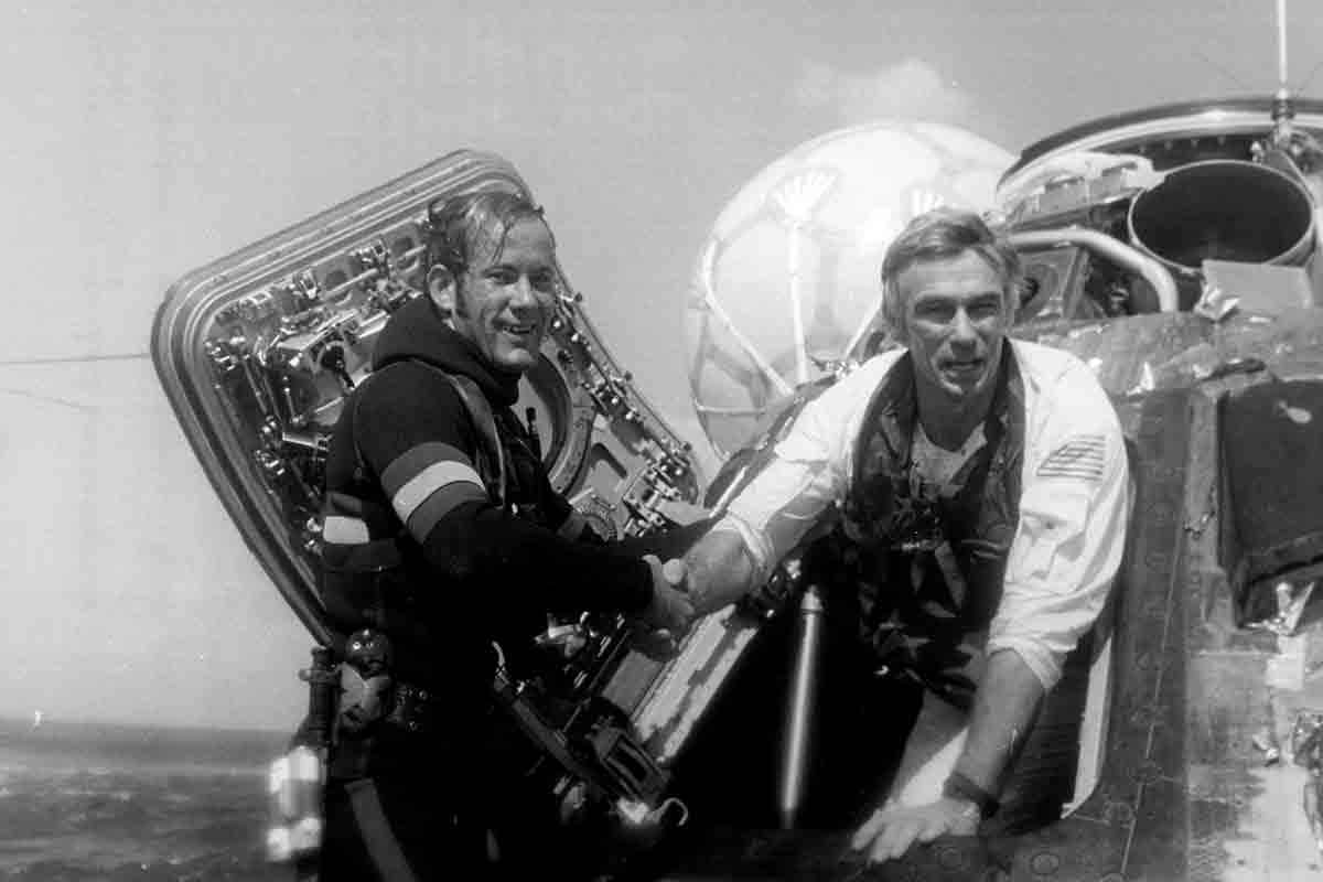 Gene Cernan, Apollo 17's commander, returns to Earth. He remains the last person ever to walk on the moon