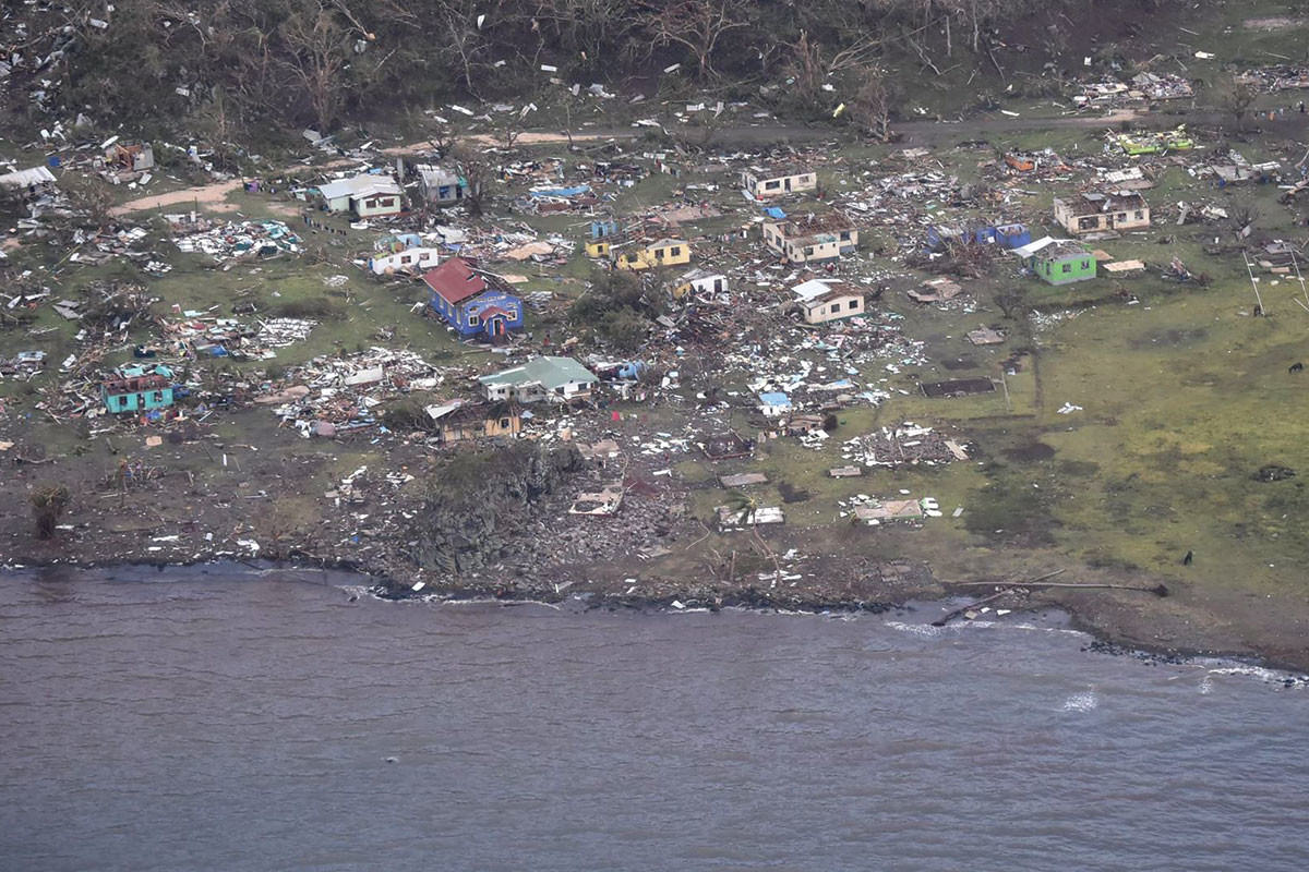 Houses on Fiji flattened by cyclone Winston with debris everywhere