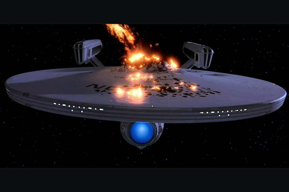 The USS Enterprise from Star Trek on fire