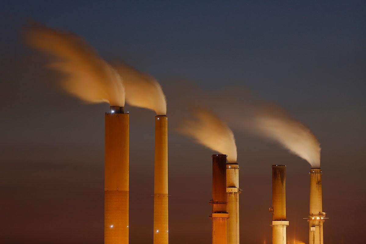 Chimneys emitting smoke