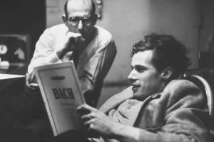 Famous pianist Glenn Gould looks at a piece of Bach's sheet music