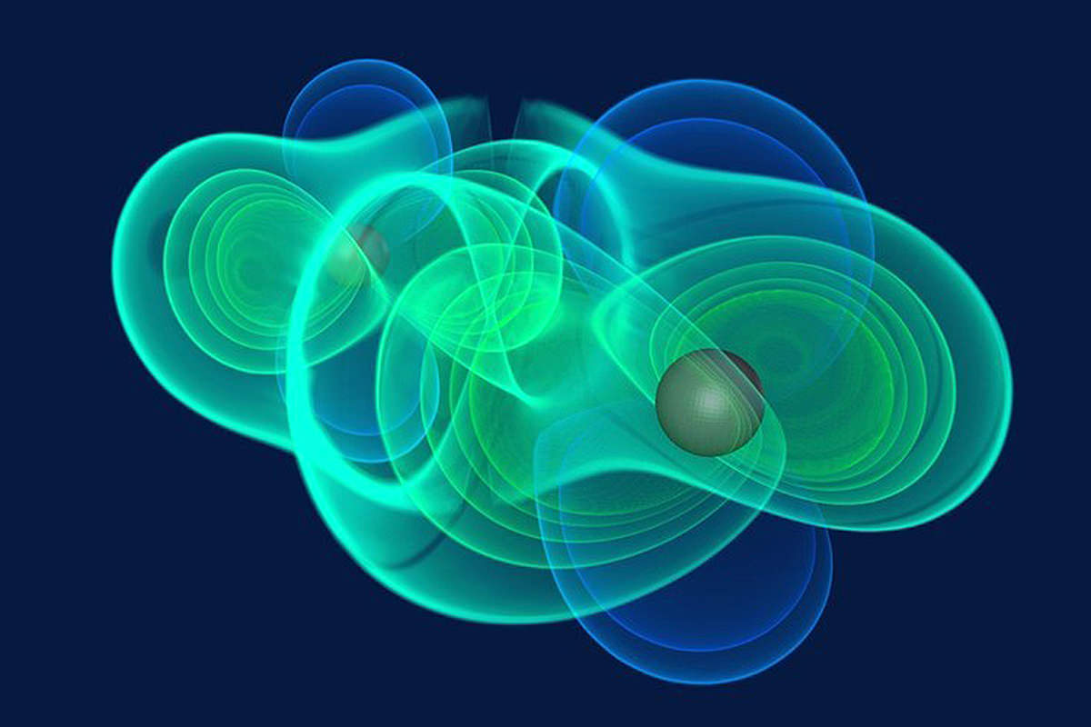 A computer model of the gravitational field around two black holes as they circle each other