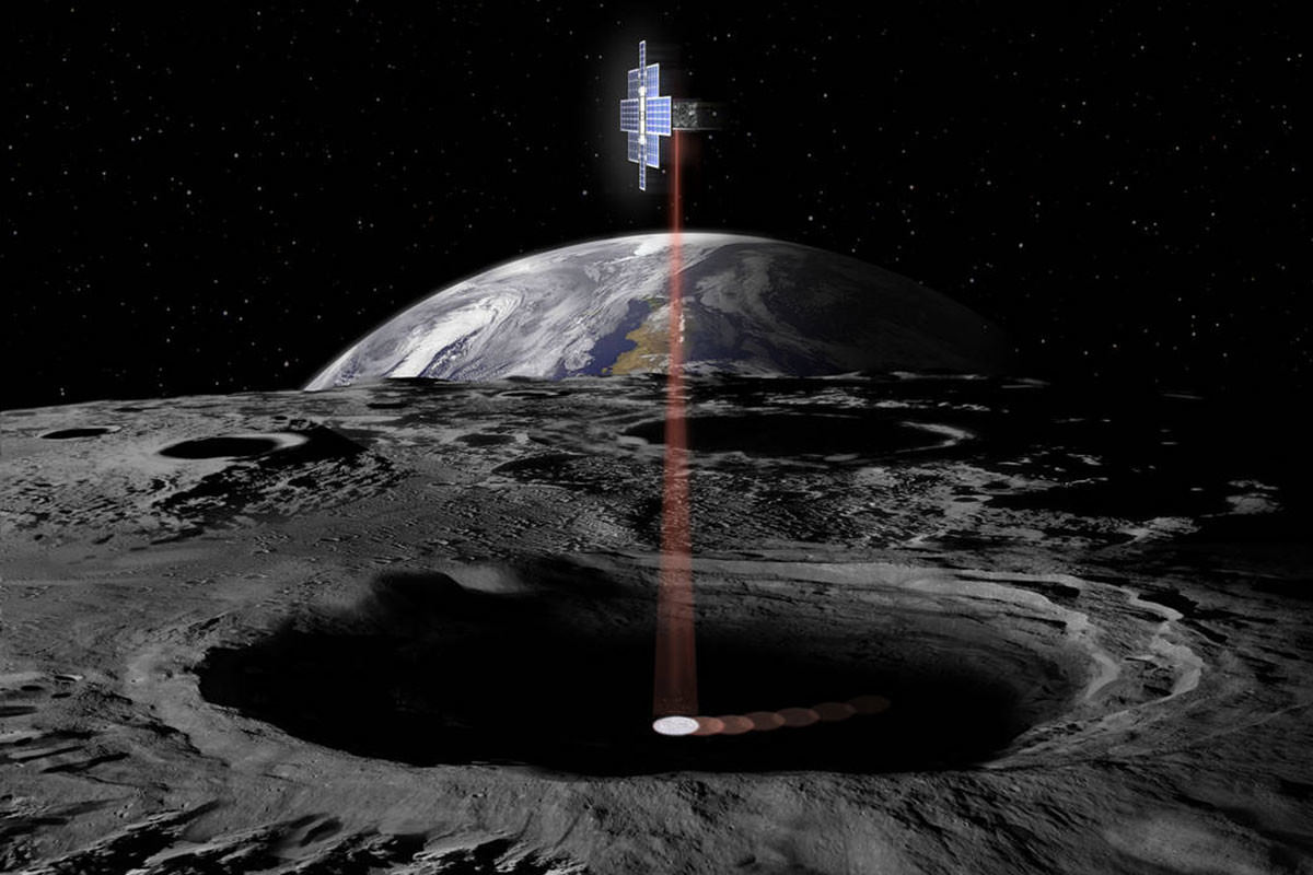 A CubeSat orbiting the moon scans its pole for water
