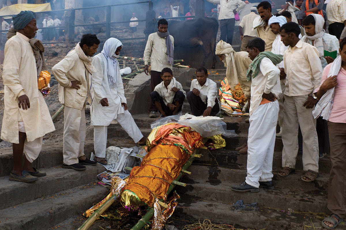 wrapped body prepared for cremation
