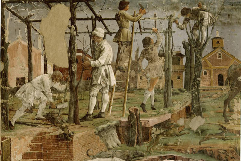 An aged painting of farmers tending to crops