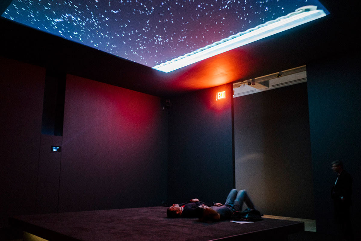 Bed Down Location, showing time-lapse video projections of night skies in Yemen, Somalia and Pakistan