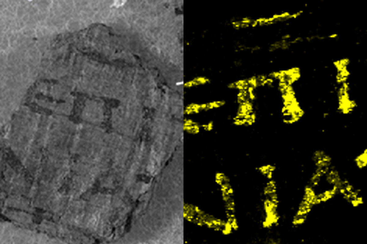 Scans of papyrus using synchrotron x-ray revealing lead ink