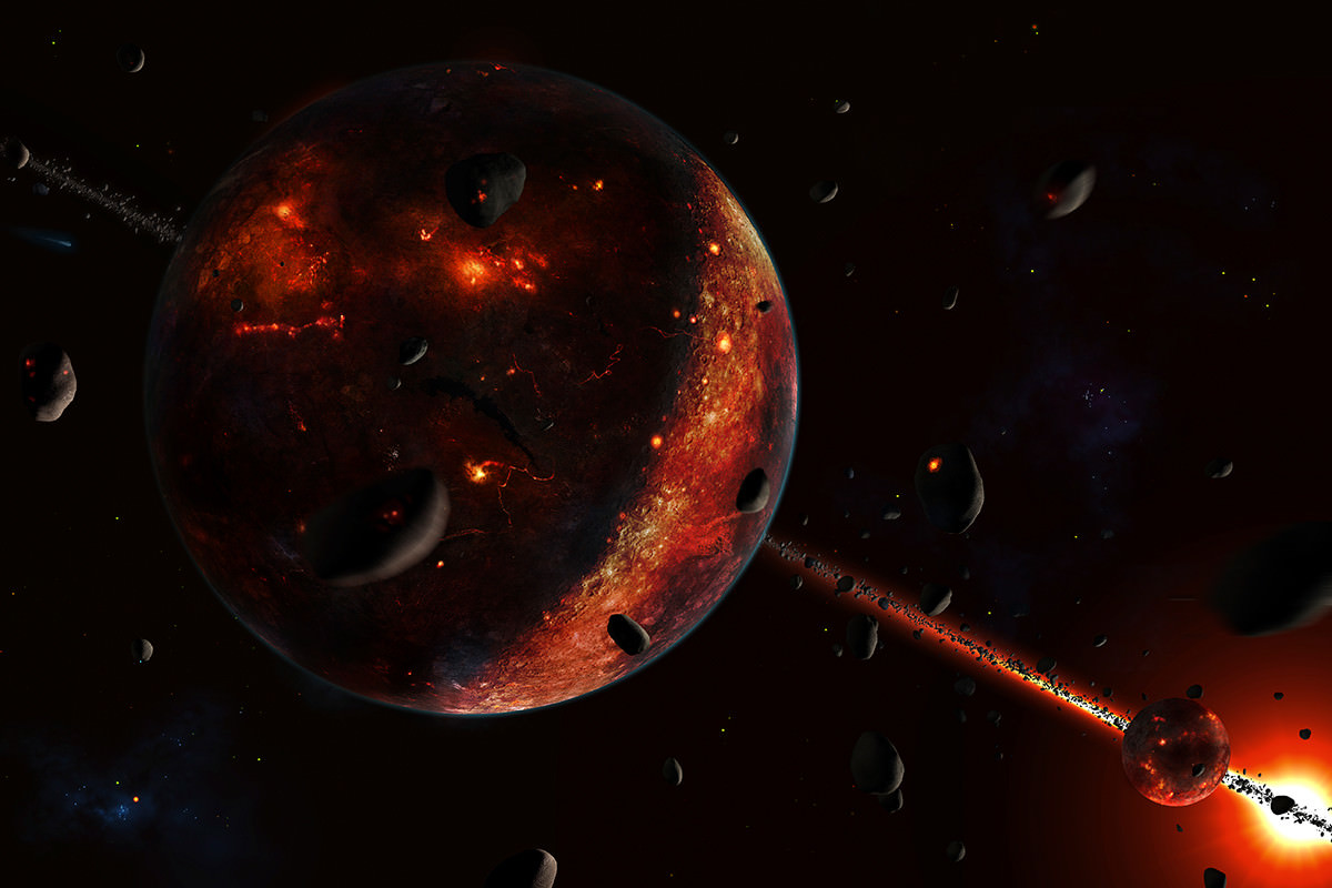 Artwork of a bombardment of asteroids