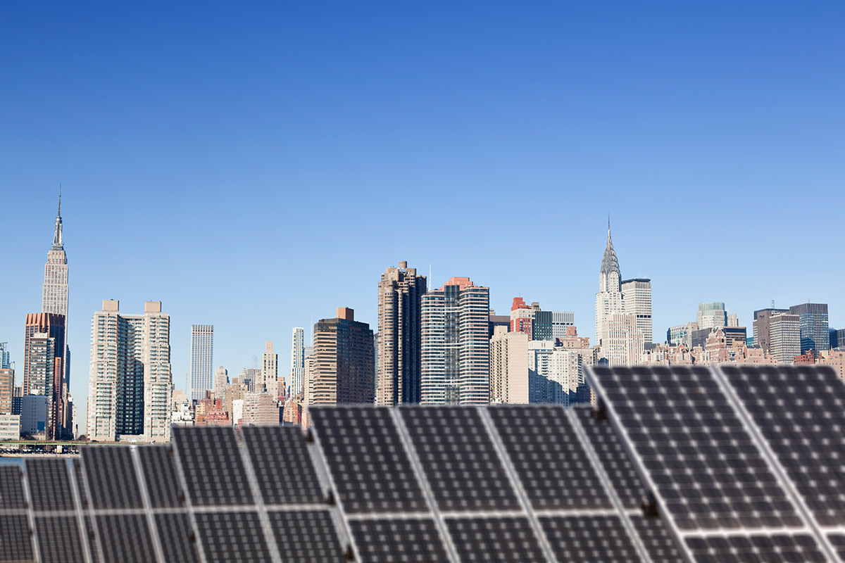 Solar panels on roof of building in New York City
