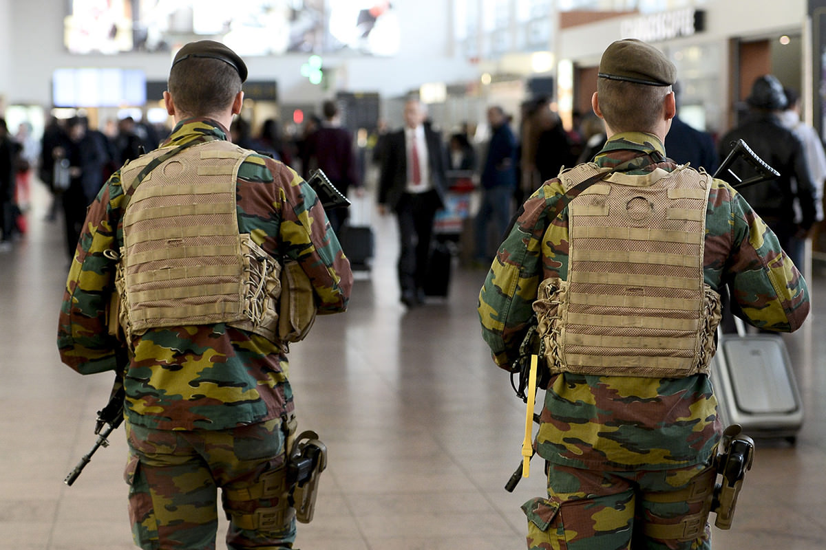 Belgian soldiers patrol Brussels airport three days after Paris attacks