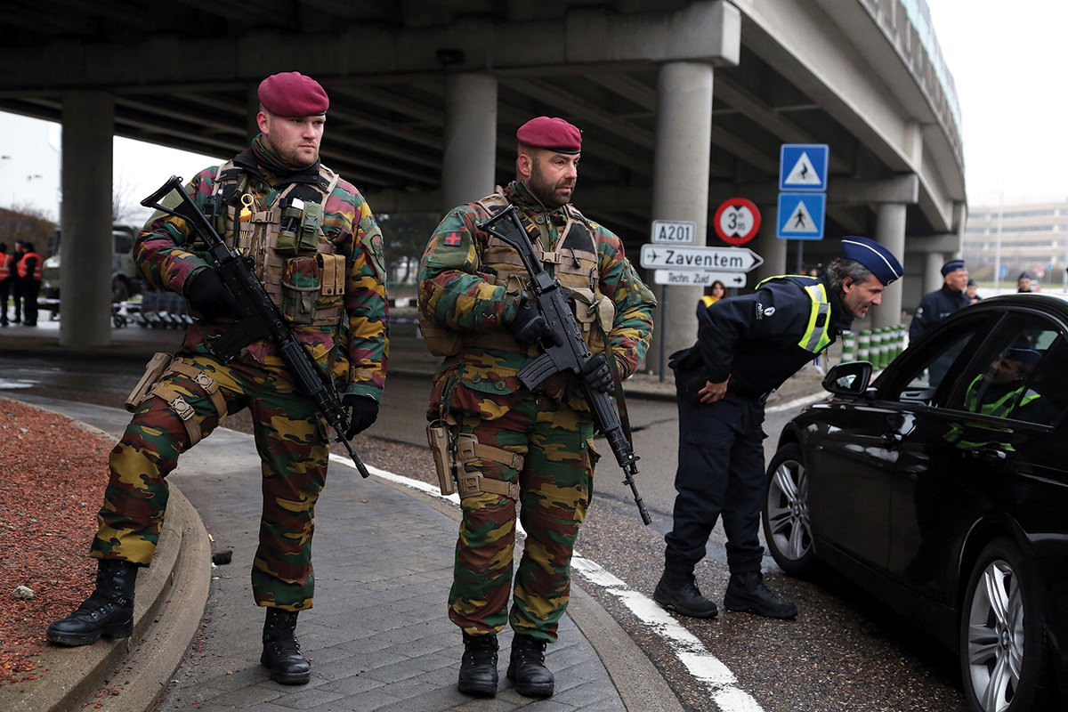 armed soldier Brussels