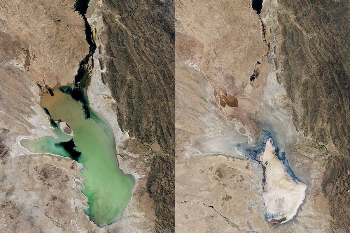 Satellite images show Lake Poopó still held water in April 2013 (left), but was dry by January 2016 (right)