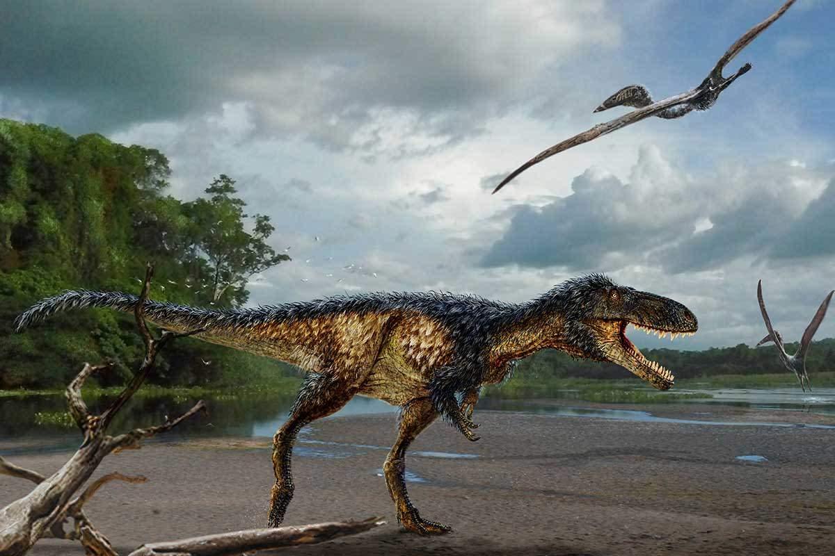 Prehistoric scene with tyrannosaur