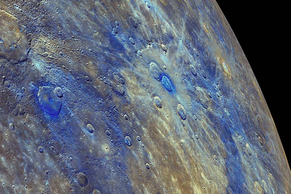 Mercury in false colour, imaged by the Messenger probe